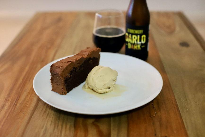 Dark ale chocolate cake