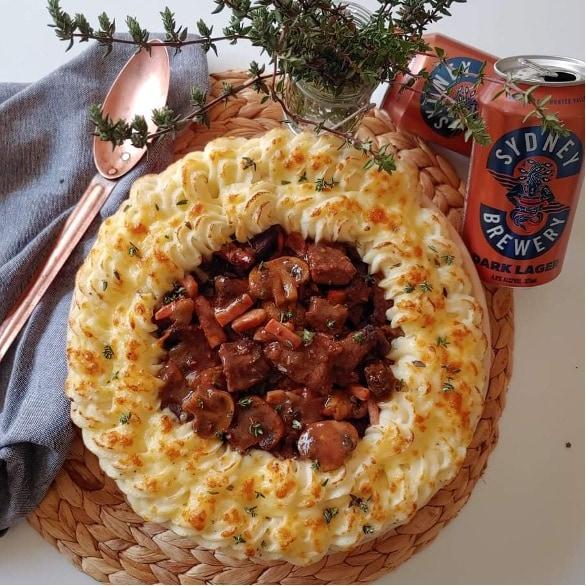 Dark Lager Beef, bacon & Mushroom Casserole with Potatoes