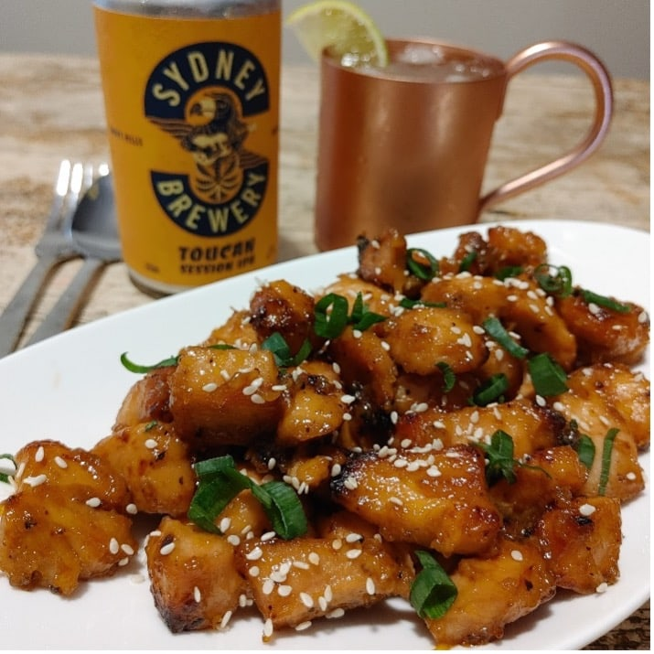 Honey Ginger Toucan IPA Chicken Bites and moscow mule