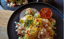 Pappardelle Pasta with Scallops & Prawns in an Agave Ginger Cider Sauce