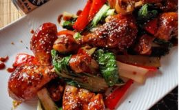 Sticky Spiced Pale Ale Chicken Drumsticks with Asian Greens